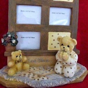 Teddy Bear Table Photo Frame Collage of 3 New
